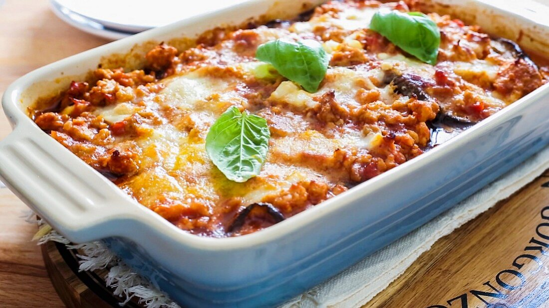 Aubergine lasagne in an oven-proof dish