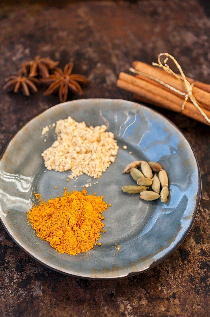 Turmeric, cardamon, anise, ginger and cinnamon