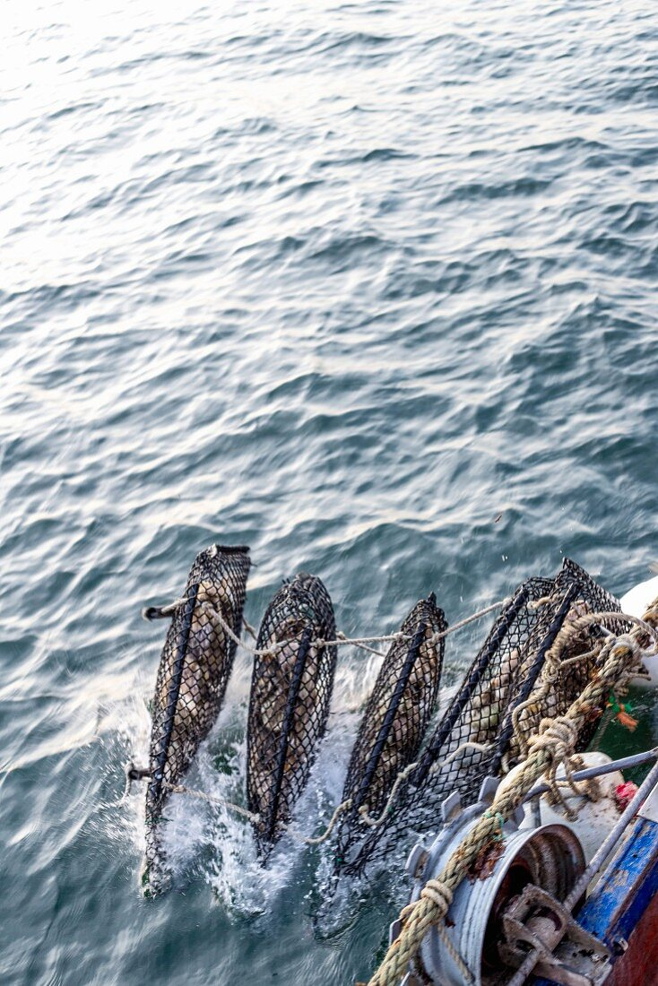 Oyster baskets on a fishing boat