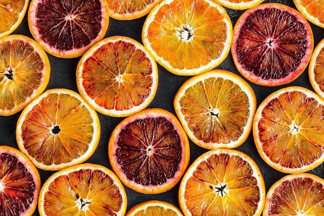 Blood orange slices (full frame, seen from above)