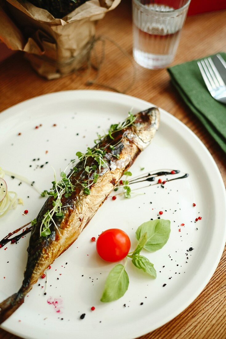 Smoked mackerel garnished with cress