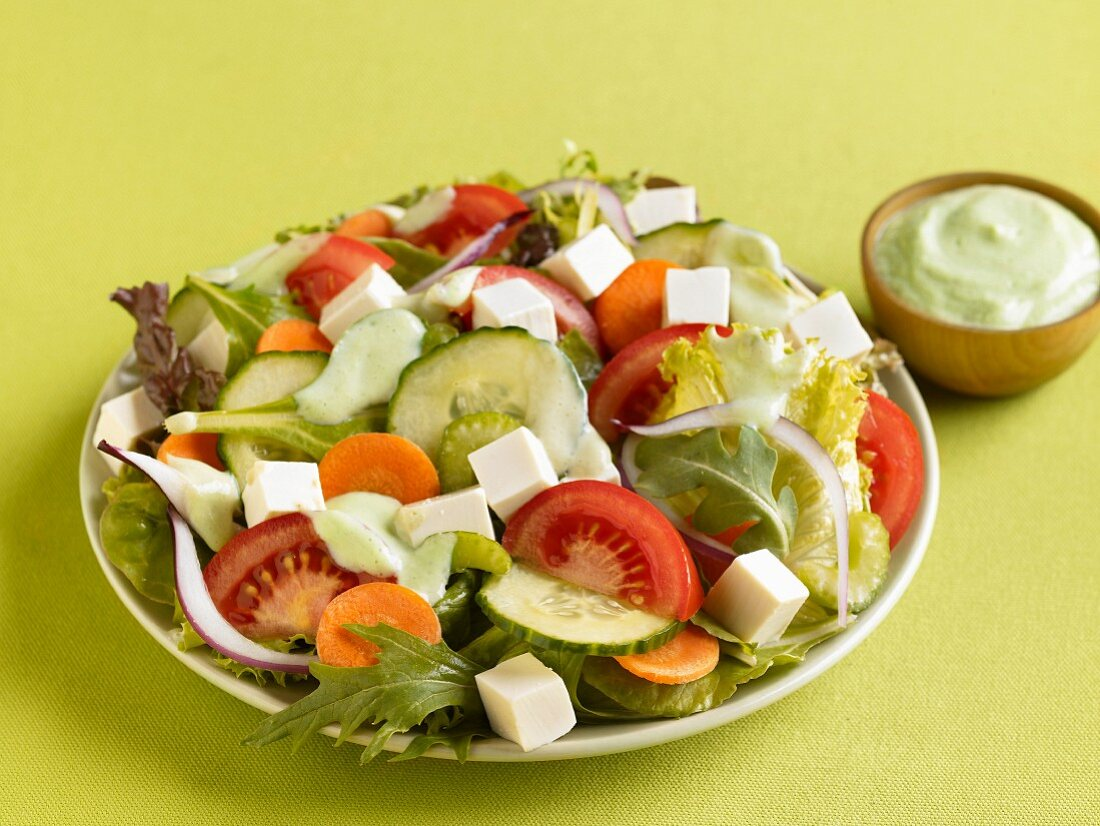 Vegetable salad with tofu cubes and avocado dressing