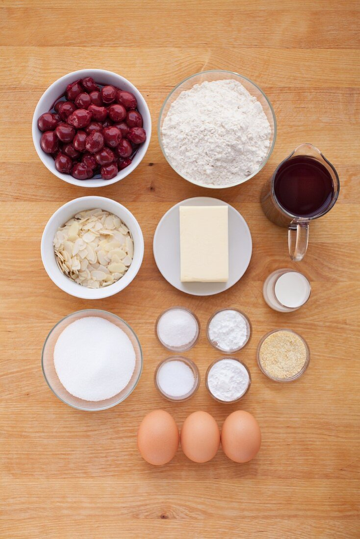 Ingredients for sour cherry cake with a glaze