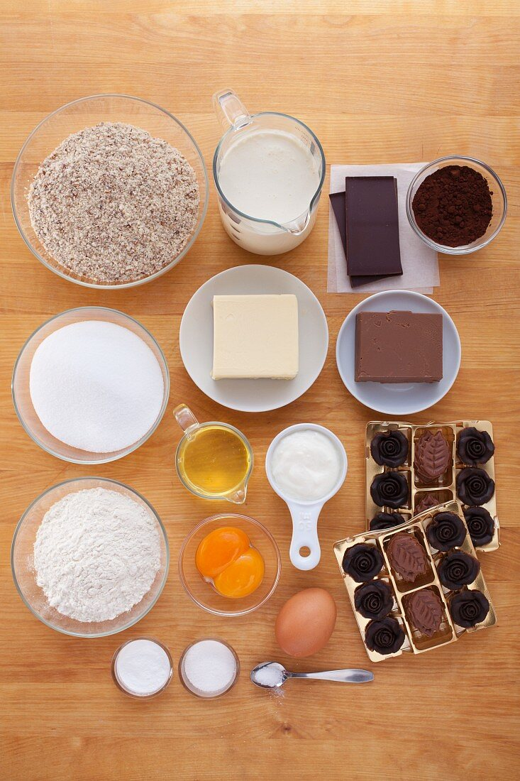 Ingredients for dark chocolate muffins