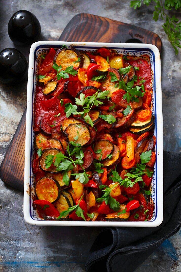 Ratatouille in an ovenproof dish