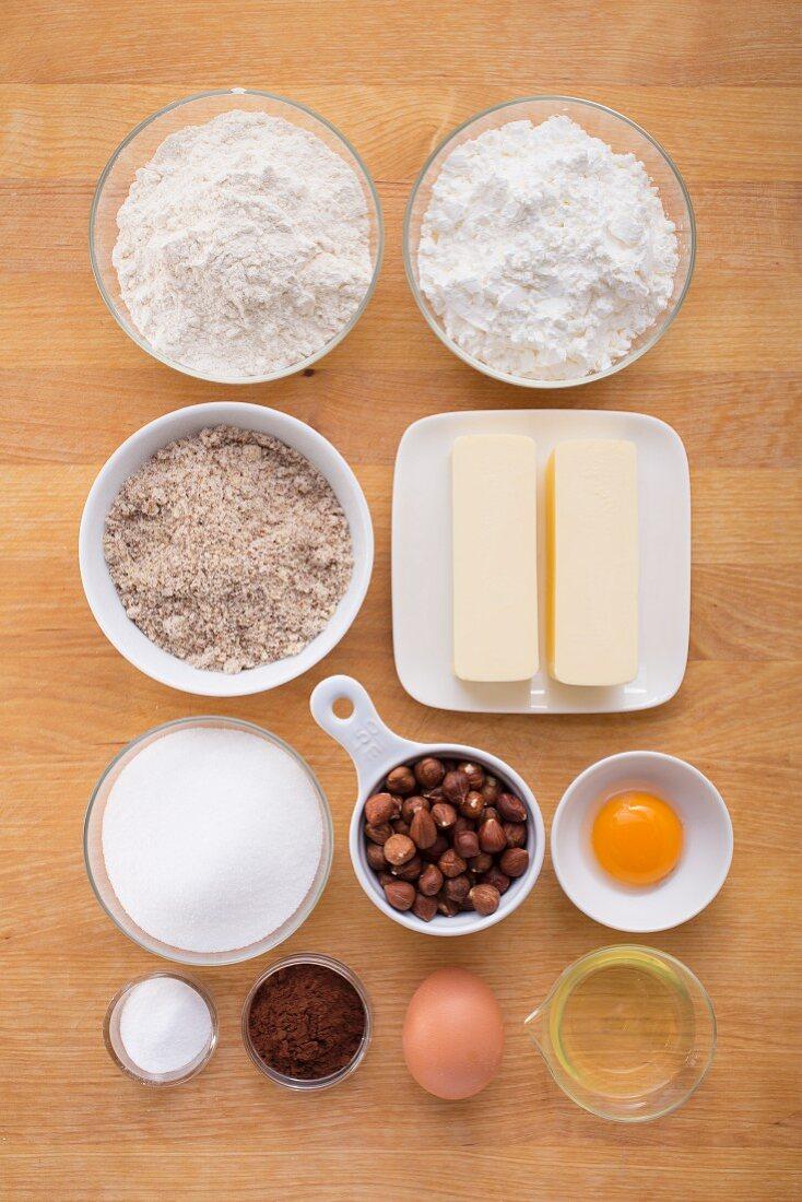 Ingredients for hazelnut biscuits