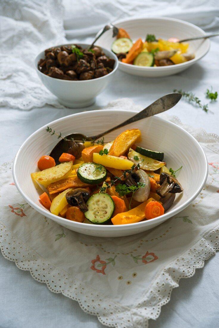 Butternut squash, Hokkaido pumpkin, potato, courgette, shallots and mushrooms served with soya goulash (vegan)