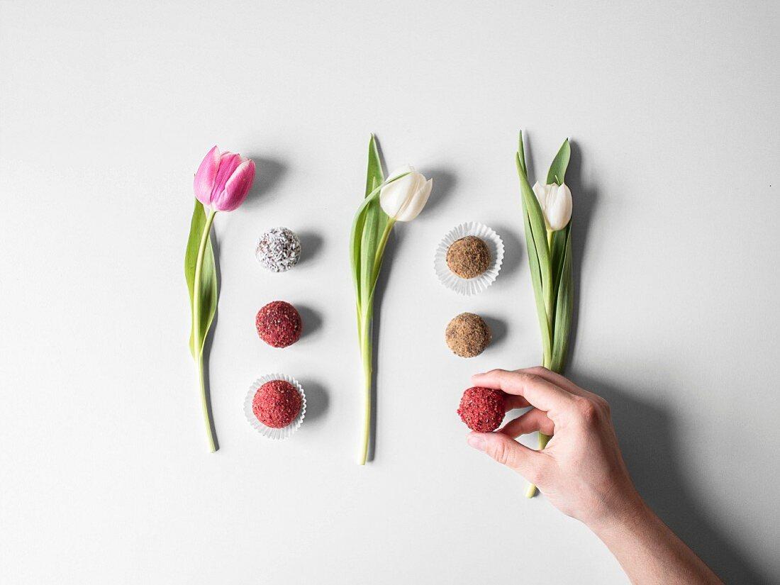 Various pralines arranged between tulips (seen from above)