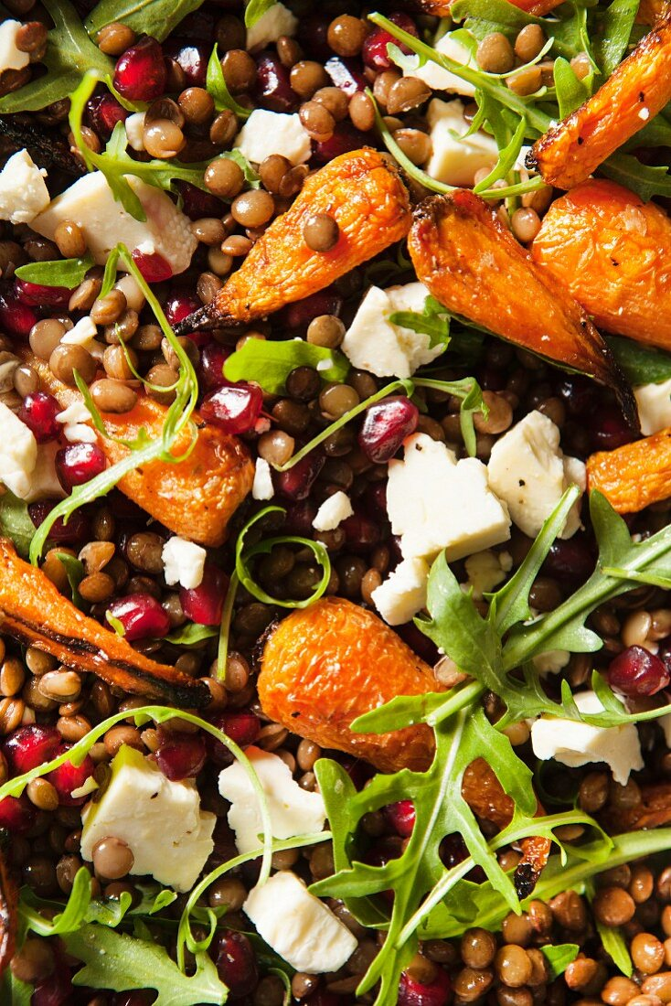 Roasted baby carrots with lentils, Wensleydale cheese and rocket (edge to edge)