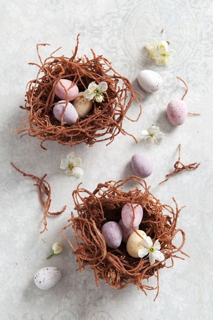 Chocolate Easter nests made from dried noodles