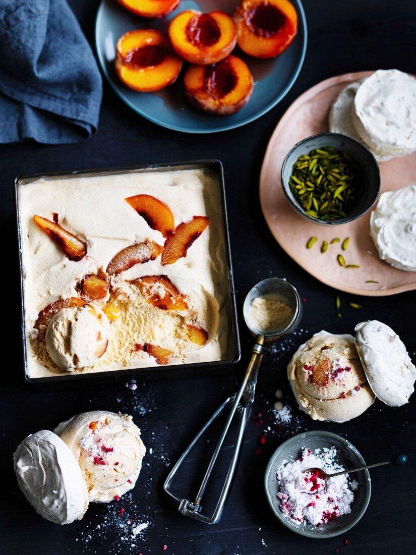 Roast peach ice-cream meringue sandwiches with raspberry sherbet