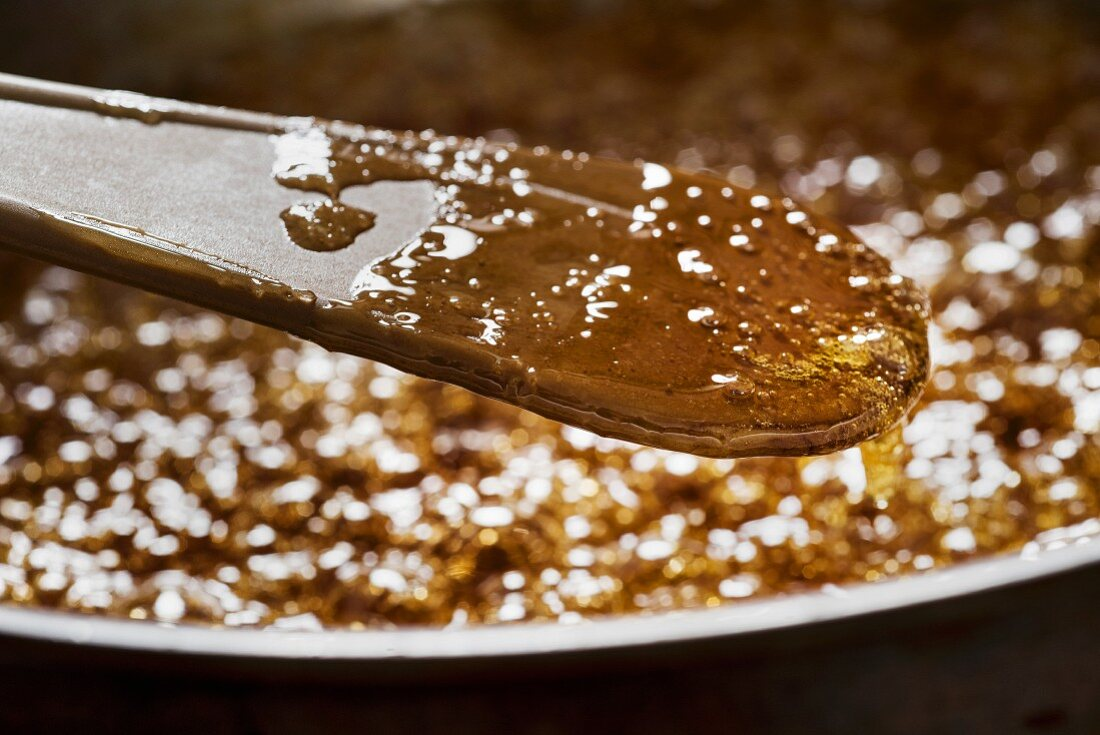 Syrup and sugar being cooked