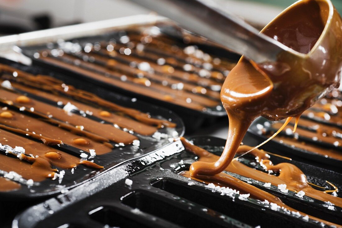 Hot caramel sauce being poured