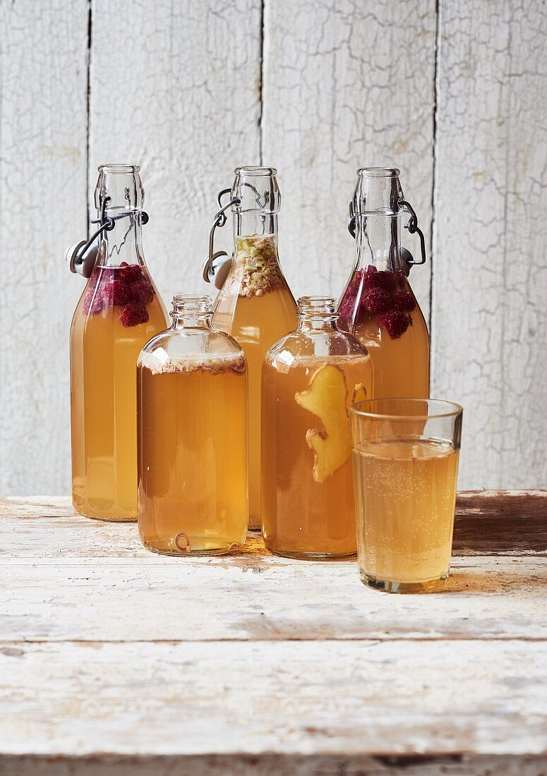 Homemade Kombucha tea in bottles with different flavourings