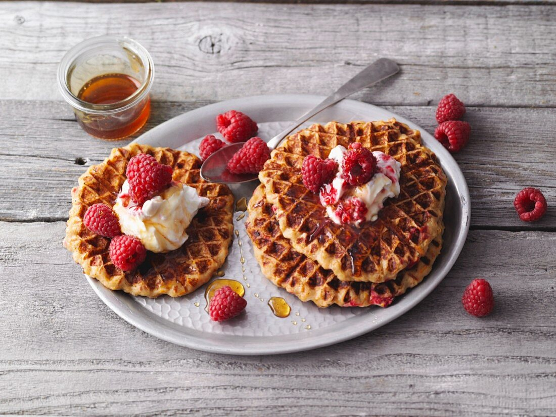 Sweet potato waffles with cinnamon and raspberry quark