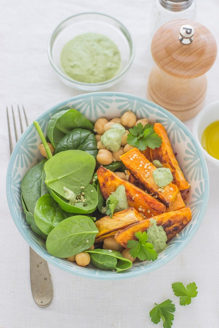 Chickpea salad sweet potato and spinach