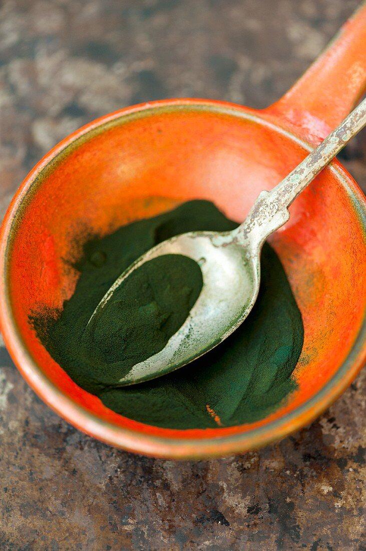 Chlorella algae powder in a ceramic bowl