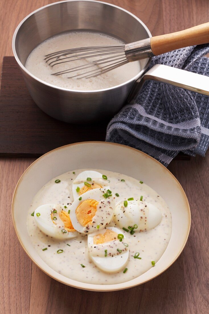 Hard-boiled eggs and mustard sauce
