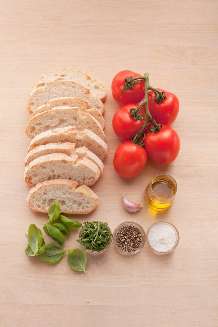 Ingredients for classic bruschetta