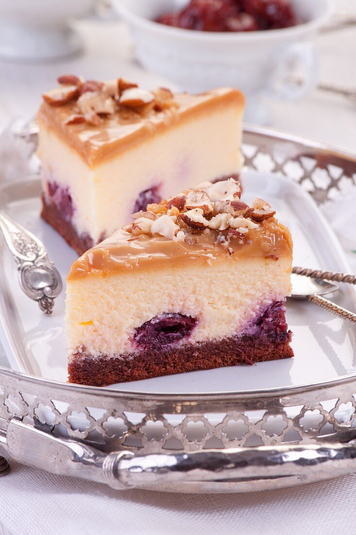 Cheesecake with cherries topped and toffi