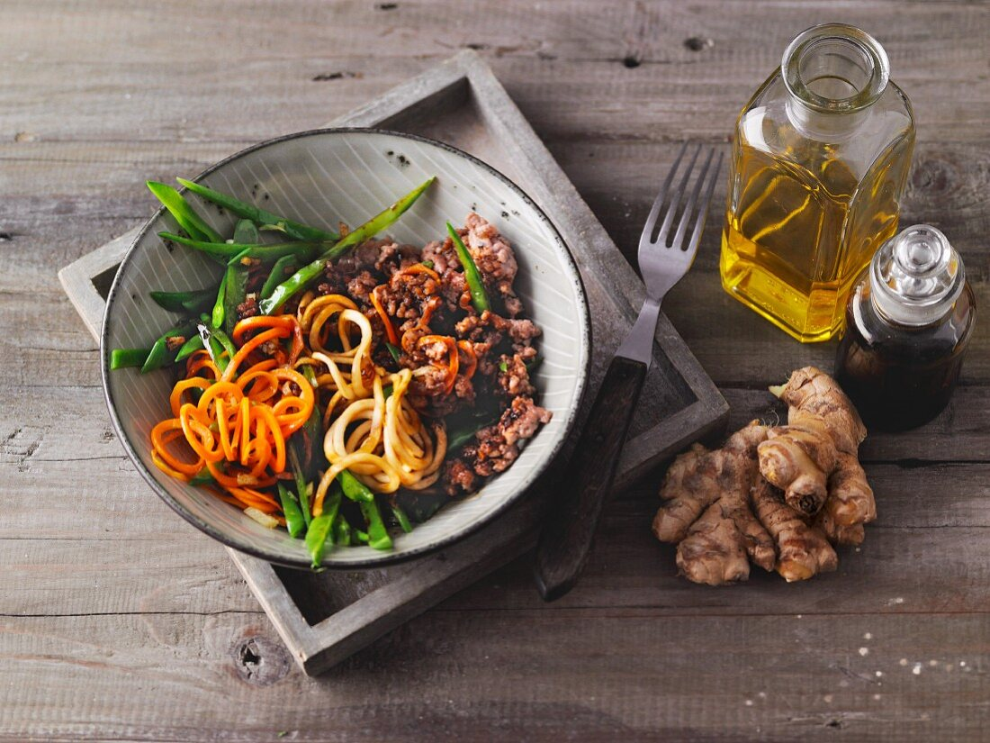 Asian-style chow mein with vegetable noodles