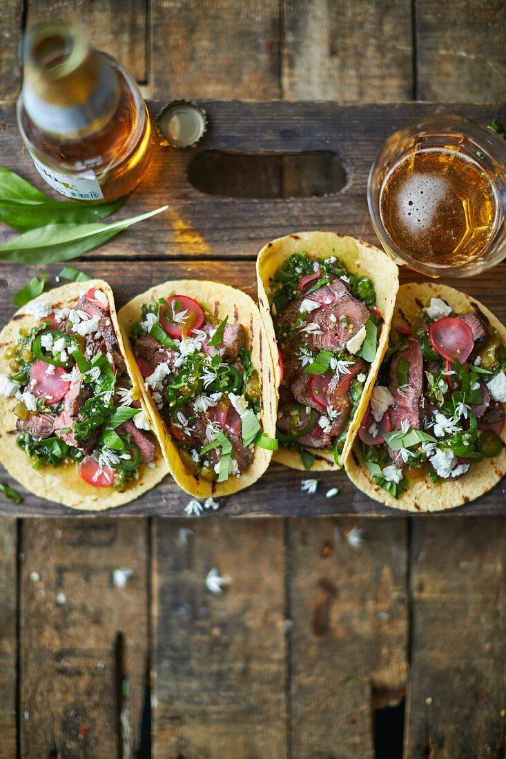 Wild garlic steak tacos with salsa
