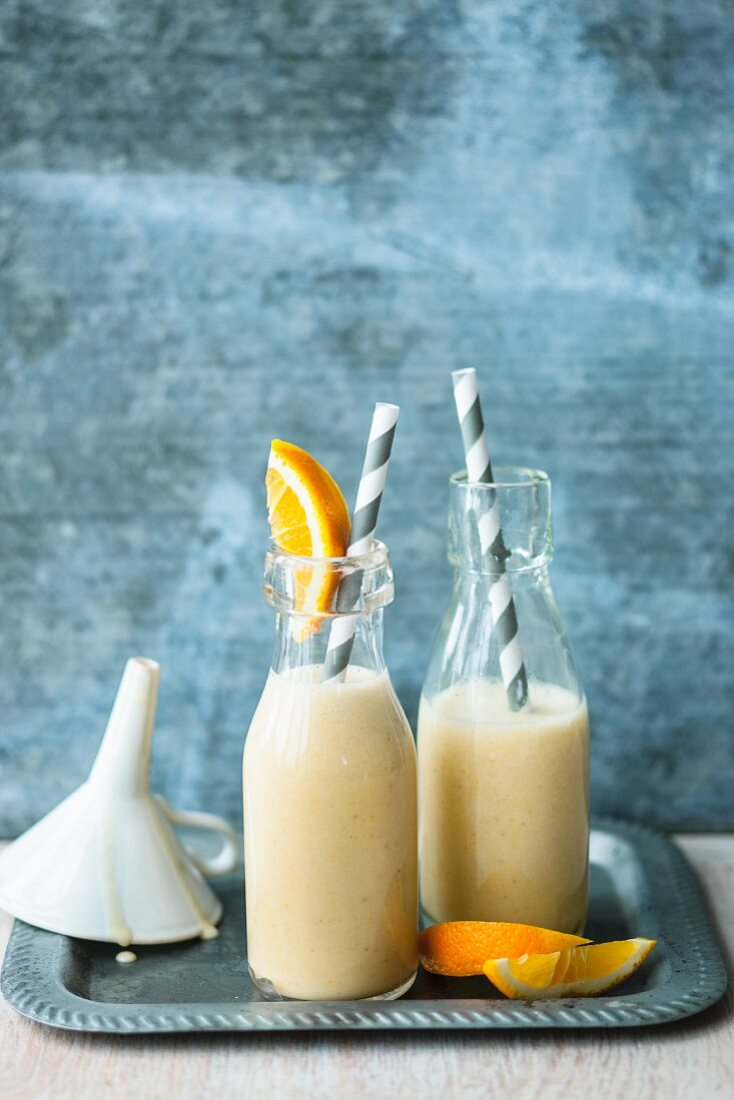 Orange and coconut smoothie with banana and lupin shake powder