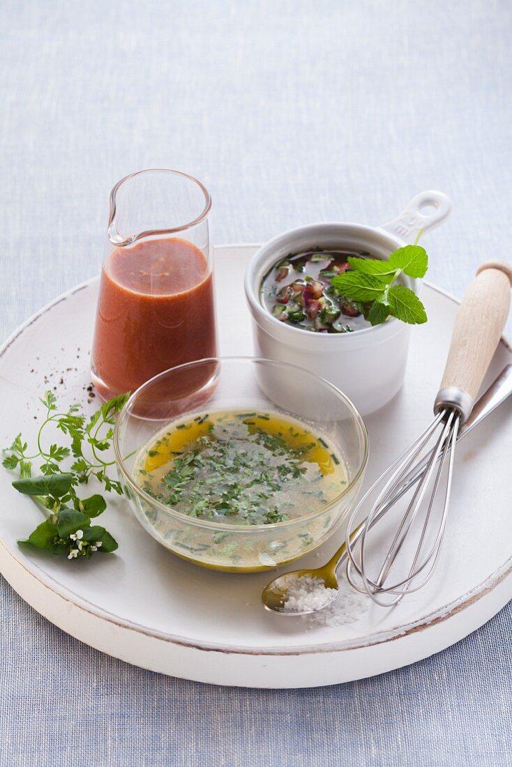 Vegan dressings: herb dressing, tomato and orange dressing, and taboluleh dressing