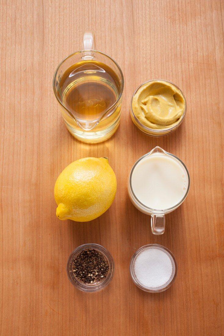 Ingredients for vegan lemon and pepper mayonnaise