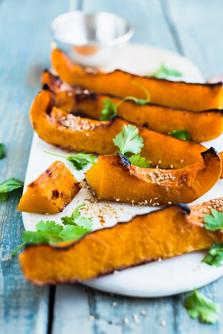 Oven baked pumpkin wedges with miso paste