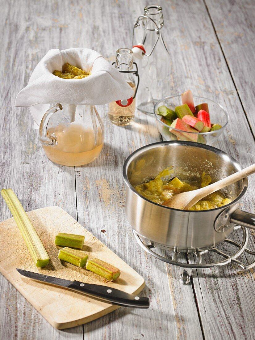 Preparing rhubarb juice and compote