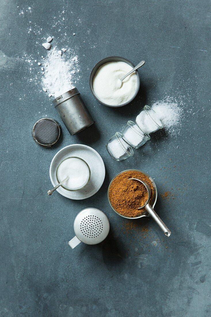 Low-carb sugar substitutes (erythritol, birch sugar, coconut blossom sugar, stevia)