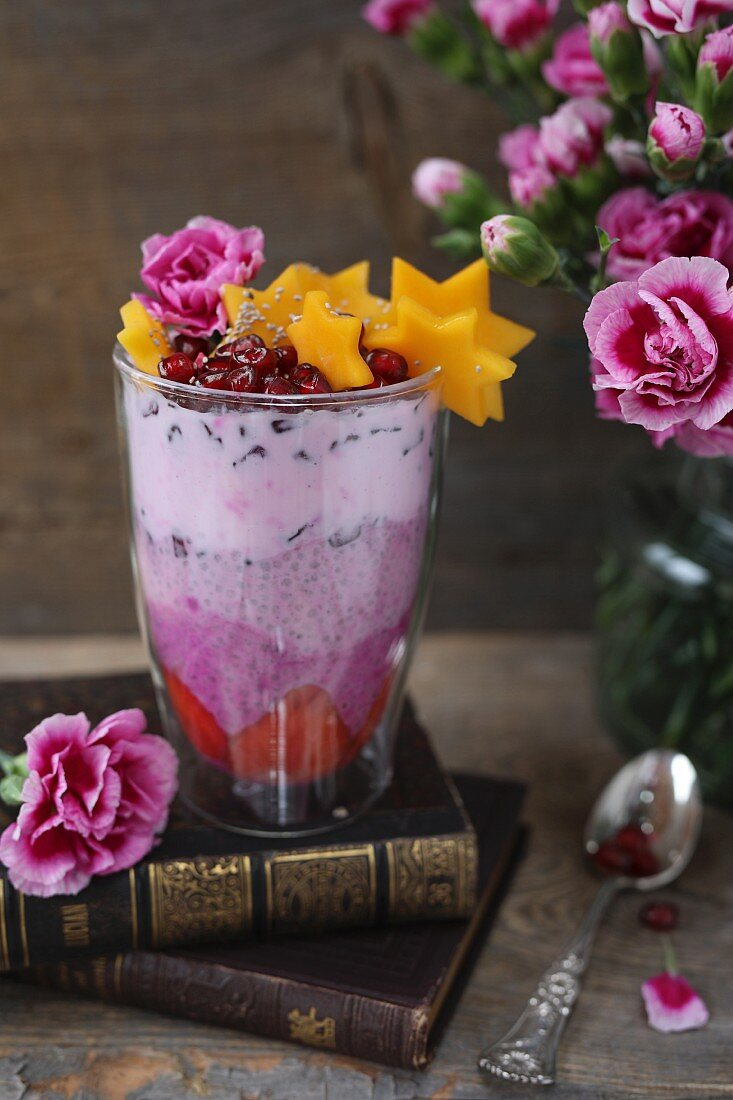 Pink chia pudding with fresh fruit