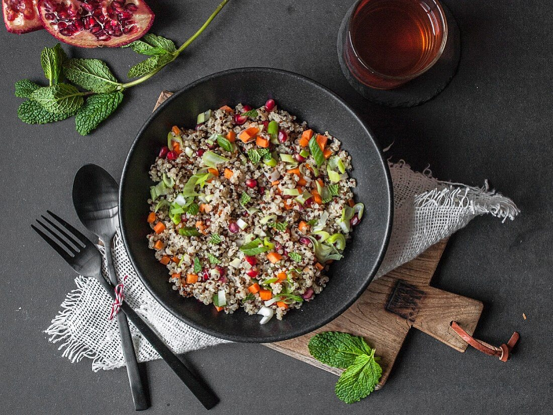 Colorful quinoa salad with spring onions