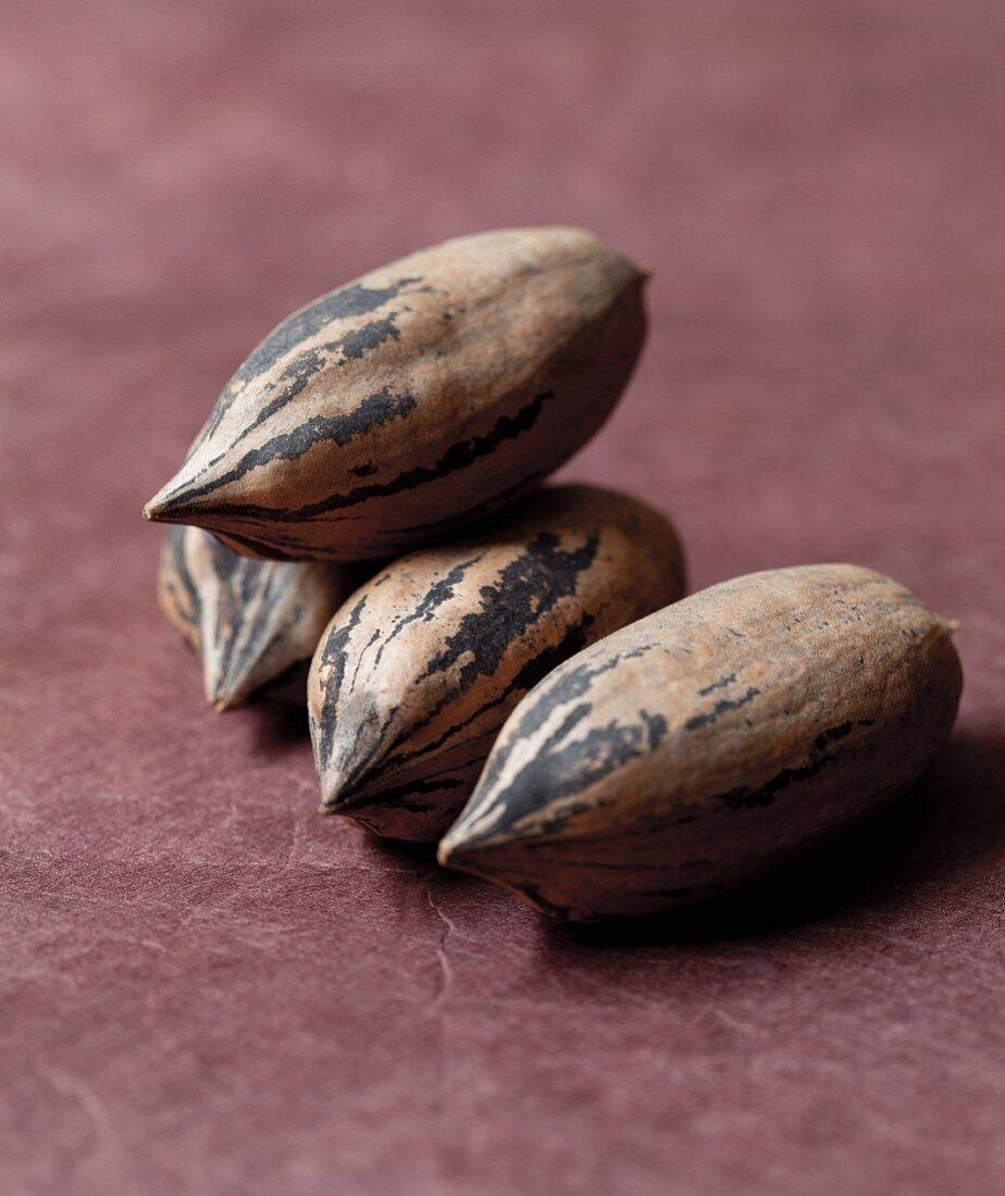 Vier Pecannüsse (Nahaufnahme)