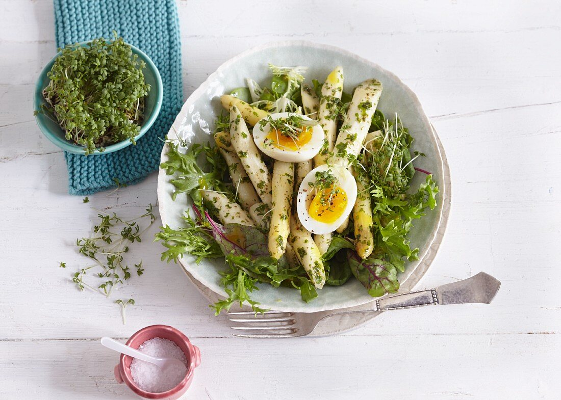 Spring salad with asparagus, hard-boiled egg and cress