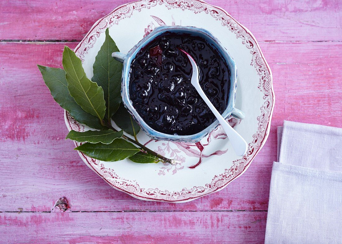 Blackcurrant jam with a bay leaf