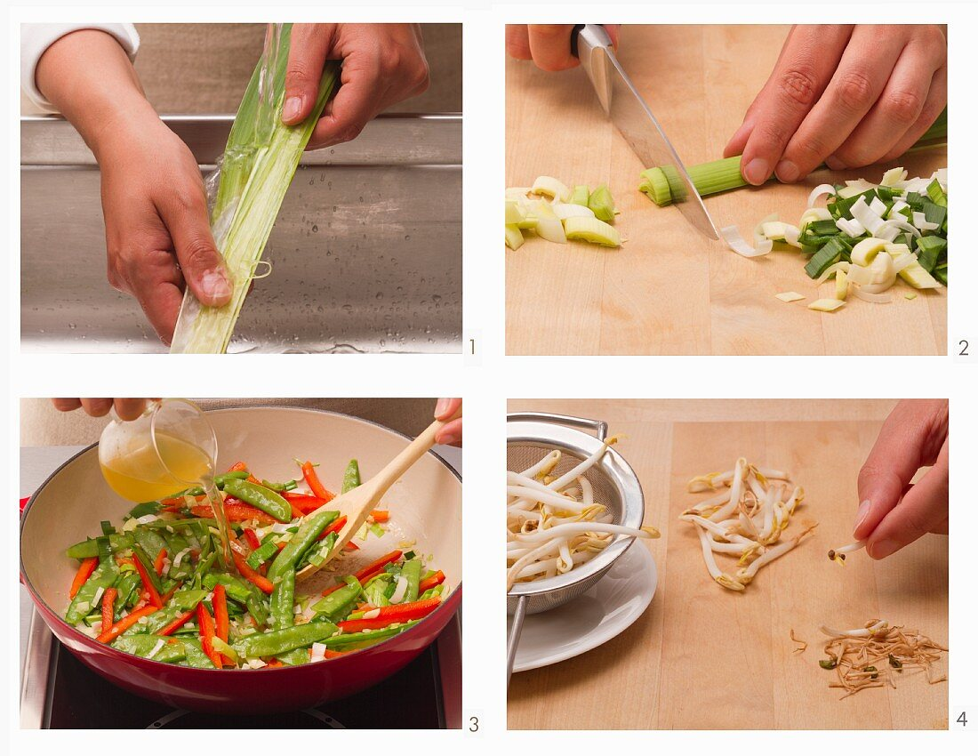 Vegetarian vegetable dish with shoots being made
