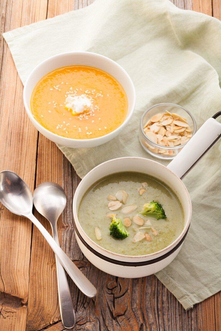 Creamy broccoli soup and creamy carrot soup