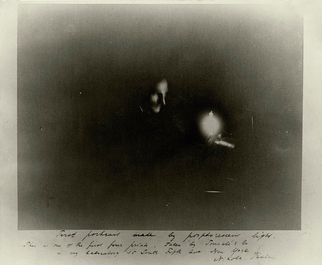 Phosphorescent light photograph of Tesla