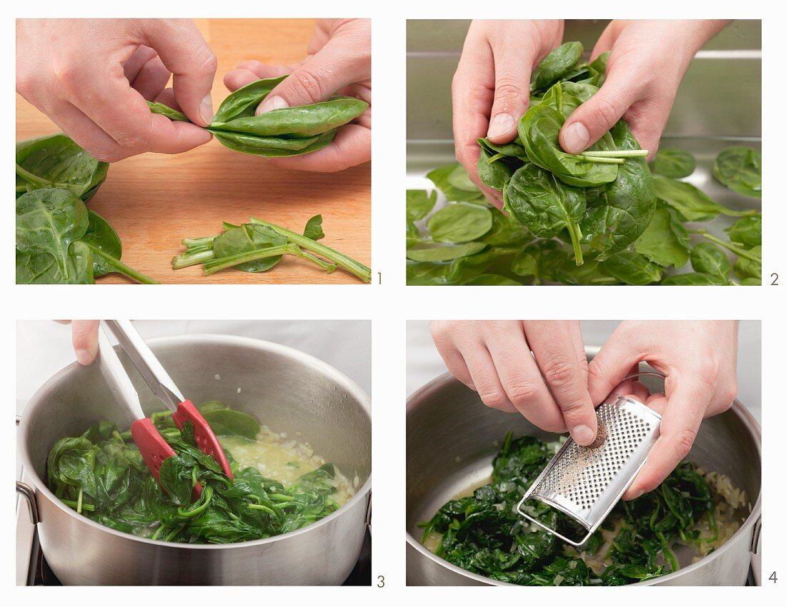 Preparing spinach