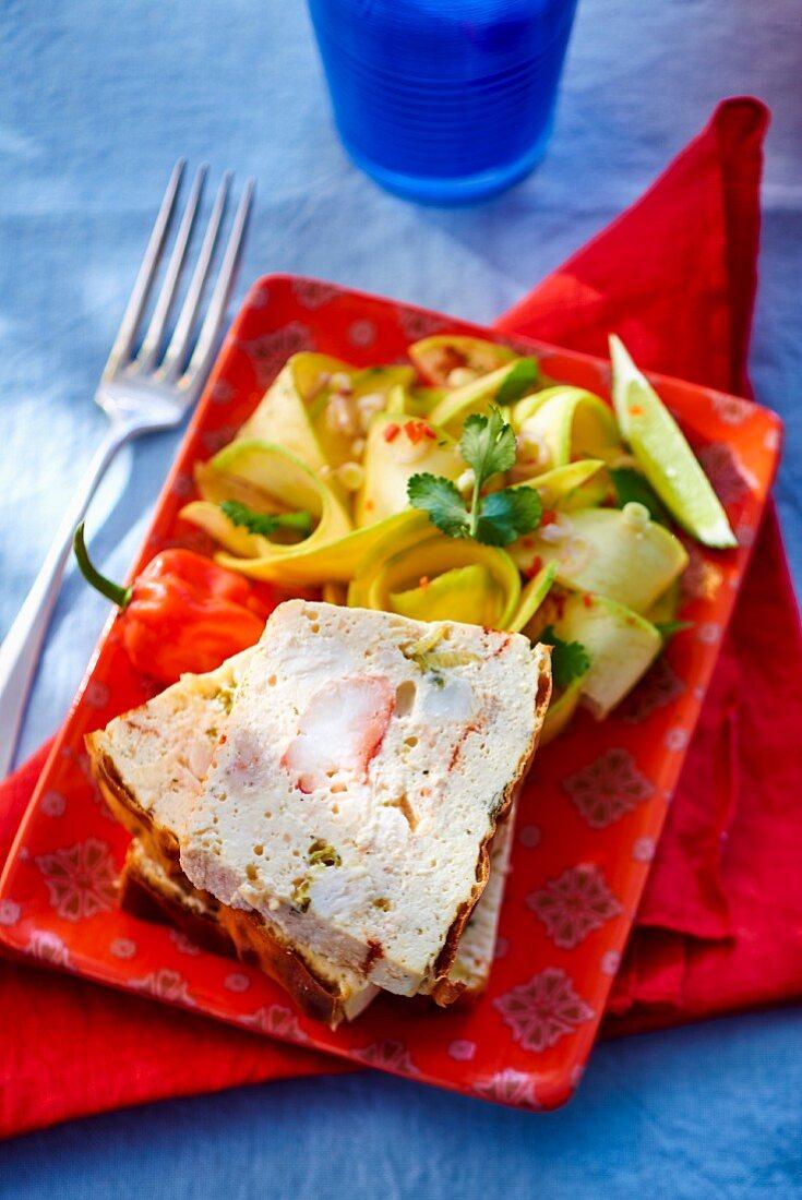 Crab meat terrine with mango salad