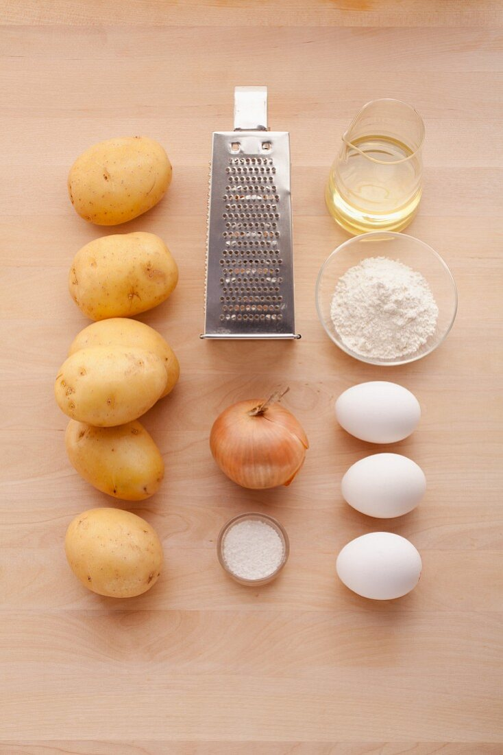 Ingredients for potato fritters