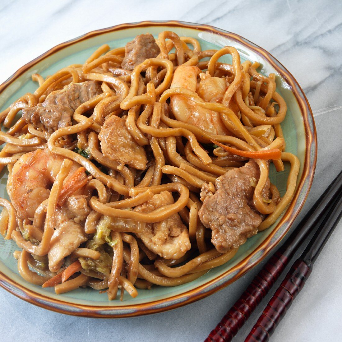 Lo Mein with beef, shrimp and chicken