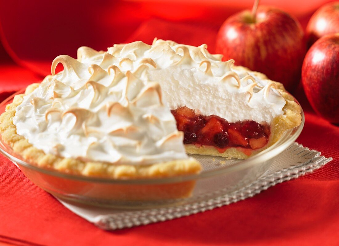 Cranberry and apple pie with meringue