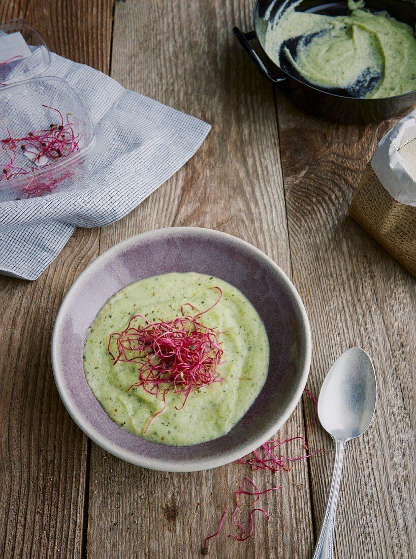 Cremige Kokos-Zucchini-Suppe mit Rote-Bete-Sprossen