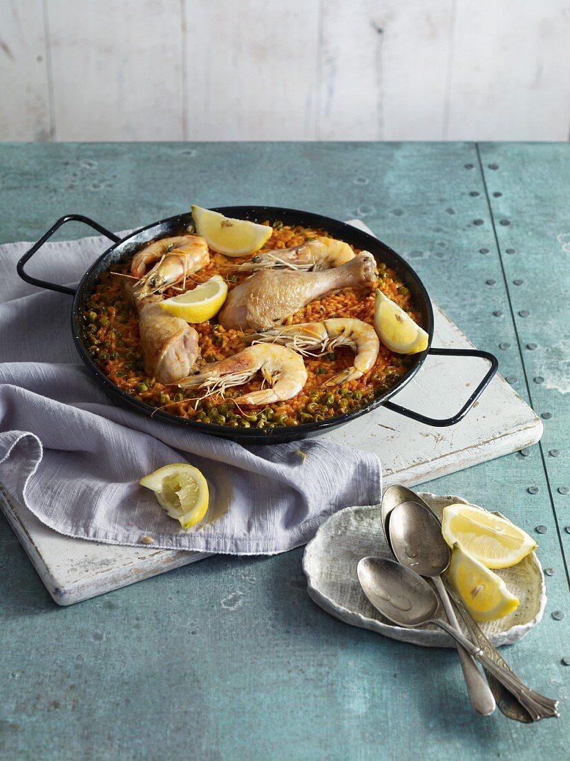 Spanish paella with chicken and prawns