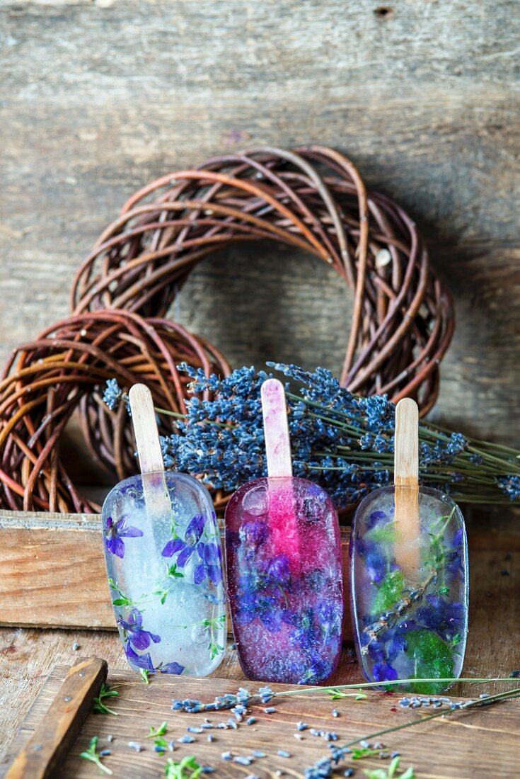 Lavender lemonade and thyme popsicles
