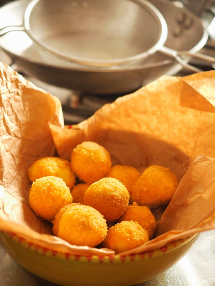 Traditional home made potatoes croquettes, Genoa, Italy