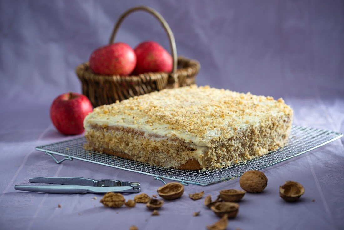 Walnut spelt cake filled with vanilla cream and stewed apples (vegan)